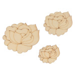 Mini Silhouettes Fleurs en bois - 30 pcs