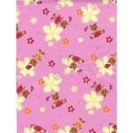 Feuille décopatch - Fleurs/ours fond rose - 30 x 40 cm