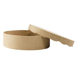 Boîte ronde à couvercle en coulures de chocolat 11 x 3 cm