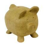 Support à décorer en papier mâché - Grande tirelire cochon - 26 x 19.5 cm