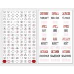 Stickers chiffres et mois colorés - 4 planches