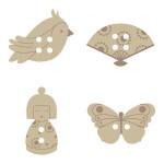 Boutons bois - Japon - x 24 pces