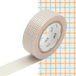Masking Tape quadrillé aqua / mandarine