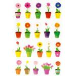 Autocollants relief Fleurs en pots