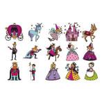 Tampon bois - Assortiment de 15 tampons Stampo' Kids - Princesses 1,6 x 1,6 cm
