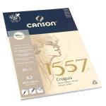 Canson 1557 grain léger 120g/m², bloc collé petit côté A3 - 29,7 x 42 cm