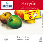 Manipack de 5 feuilles de papier Canson® Acrylic 50X65 cm, 400 g/m²