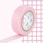 Masking Tape 1P Quadrillé rose 15 mm x 10 m