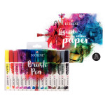 Feutre pinceau Ecoline Brush Pen encre Aquarelle Pochette 15 feutres + Papier